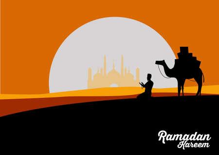 a man  prayer prays to god in Ramadan Celebration month.