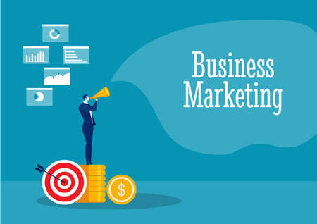 businessman promote with Referral marketing concept vector