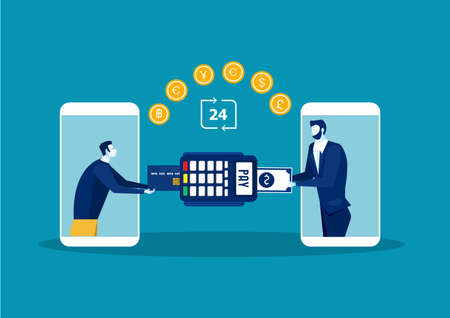 Man Online Payment Concept. Payment terminal transaction. Pay by card.vector