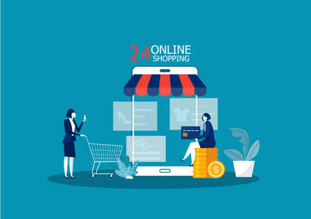 Woman buy things in the online store. Shopping online on mobile phone. Vector