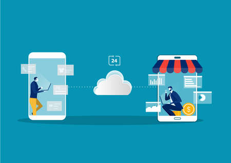 Shopping online on website with Online stores and e-commerce.vector