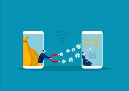 Cyber hacker thief stealing money from businessman smartphone online wallet. Vector illustration