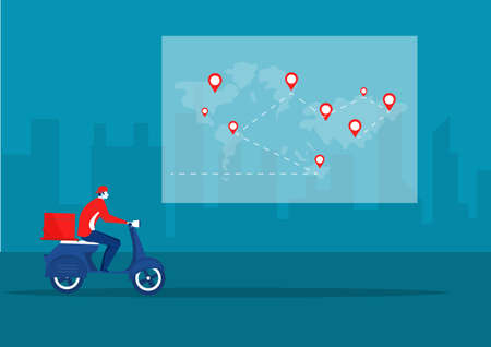 Delivery man on scooter. Food deliveries courier, delivering on city background Ilustrace