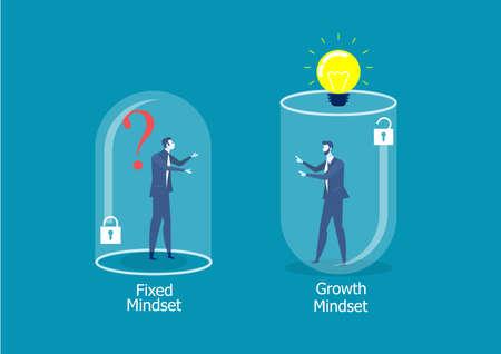 Deux hommes d'affaires pensant différemment entre le concept de réussite de l'état d'esprit fixe et de l'état d'esprit de croissance