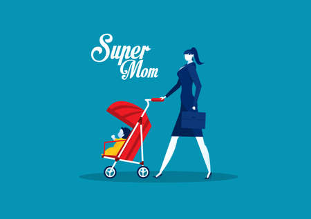 Mother with Baby Carriage ,mother day super mom concept vector.