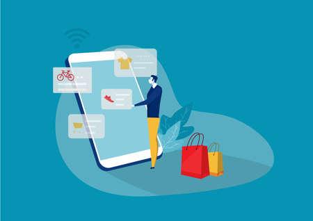men shop online with smartphone,Vector illustration