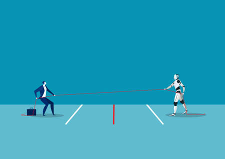 A business man is tug of war with robot ia concept vector illustrator