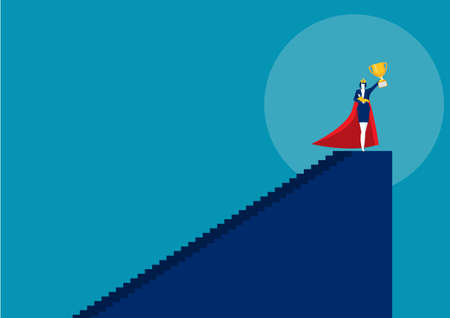 Hero woman mother doing office work and homework alone. super mom vector illustrator
