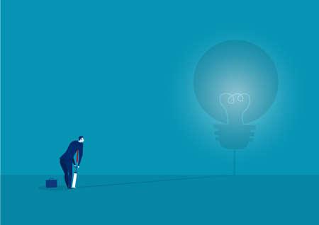 businessman blowing Light bulb by air pump. concept.vector illustrator Ilustrace