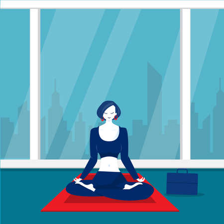 lady office  happy meditation and yoga with stress and anxiety illustrator.