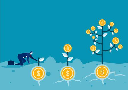 businessman plant money coin tree growth illustration Ilustrace
