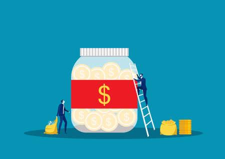Savings investing money.  jar, bottle bank with money, man take Money. for Jar Making Saving,  Vector Illustration