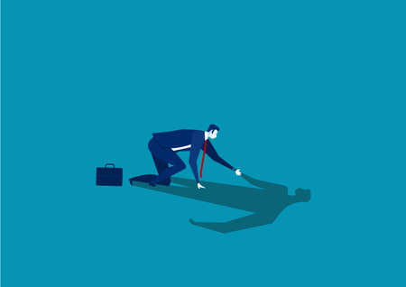 businessman helping his own shadow to stand up.concept business fail vector.