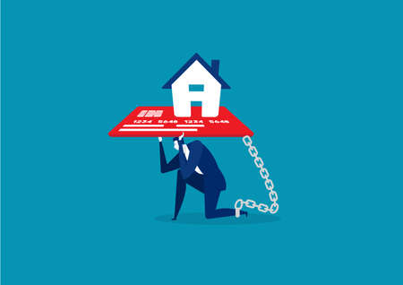 businessman with foot chained to home credit card debt concept vector