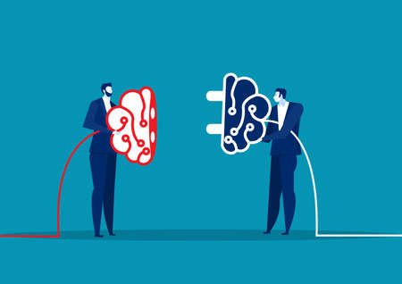 two business connect plug brain for share idea. Concept business vector illustration.