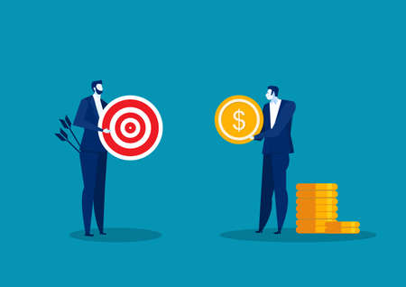 Man Holding coin with Arrow Aiming in Target. Businessman Trying Catch target with Dollar. Vector Flat Illustration