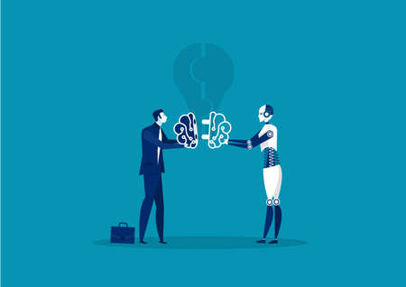 Businessmen and robot connect brain idea. Vector illustration