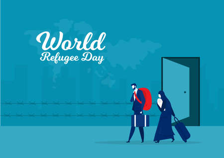 Refugee  World migrant day. War and crisis in country.vector illustrator.
