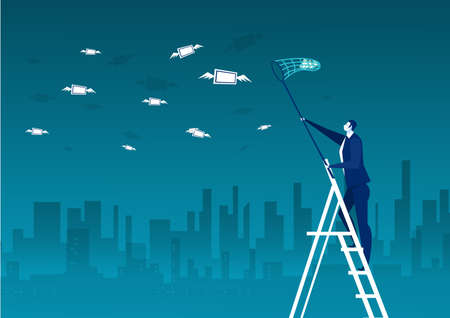 businessman trying to catch money fly on city background vector illustrator.