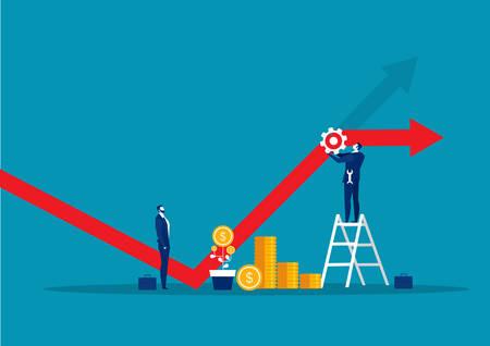 businessman fixing decreasing financial graph with tool wrench concept vector Ilustração Vetorial