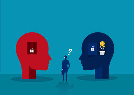 businessman choose between Big head human think growth mindset different fixed mindset concept vector