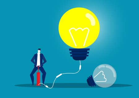businessman blowing Light bulb by air pump. concept.vector illustrator Vettoriali