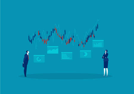 businessman looking growing chart stock market with an arrow investment concept Banque d'images - 149593936