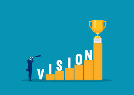 businessman looking vision word  on stairs to success vector illustrator