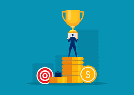 Happy super rich successful businessman on big coin concept vector Illustration