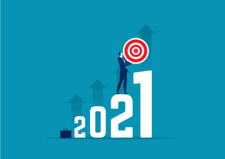 business holding target to new year 2021 concept vector illustration.