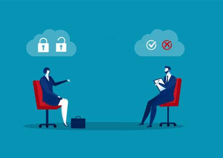 businessman interview about test mindset ,idea, attitude for Hire concept vector illustrator