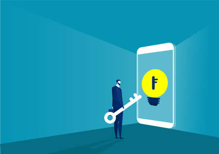 Business Hold Key Look to unlock on smartphone Vector Illustration