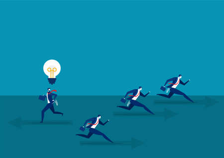 businessman running with Think different business direct concept to success Vector illustration.