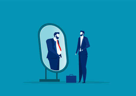 business man looking mirror and seeing themselves as fat person. Underestimate yourself and obsession pretend concept.