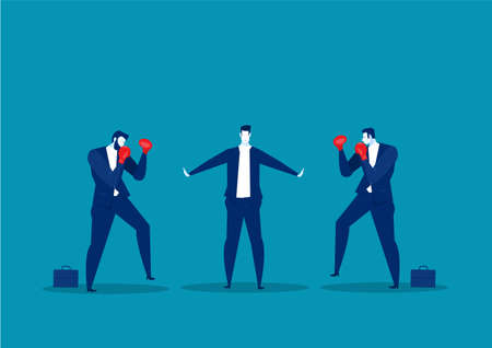 businessman stop conflict.Stop Fighting,employee concept vector 向量圖像