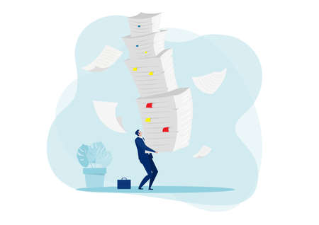 businessman hard work with pile of documents concept  vector.