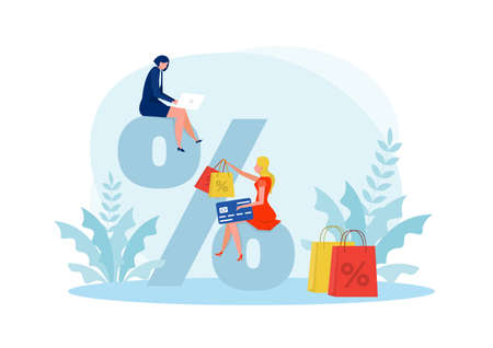 woman shop Commercial sales, big procent discount for goods, order. Black friday.  Flat vector