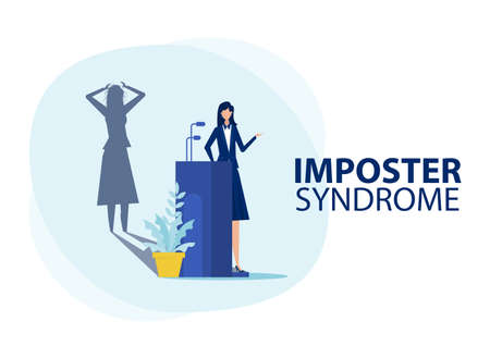 Imposter syndrome.woman standing for her present profile with fear shadow behind. Anxiety and lack of self confidence at work ,the person fakes is someone else concept
