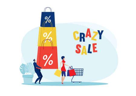 woman crazy shop sale discount on black Friday vector