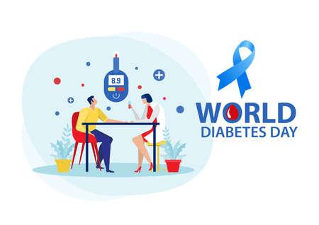Medicine diabetes concept with man measuring sugar in blood with glucometer. Ilustración de vector
