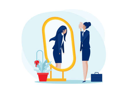 Depression Mask.business woman standing with mirror and seeing themselves as shadow behind. depression and melancholy concept of self confidence at work, vector illustration. Vecteurs