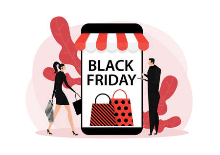 black friday shop,woman and man shop online stor service, promo purchase marketing illustration Vektoros illusztráció