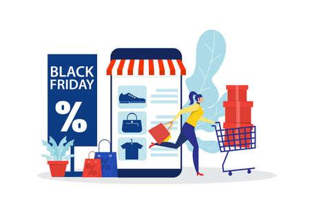 black friday shop,woman shop online stor, promo purchase marketing illustration