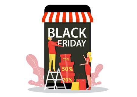 Man opened store for shop on Black Friday.   Vector illustration for promo, seasonal discount Illustration