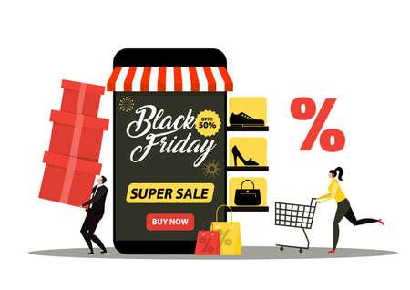 black friday shop,woman shop online stor, promo purchase marketing illustration Vektoros illusztráció