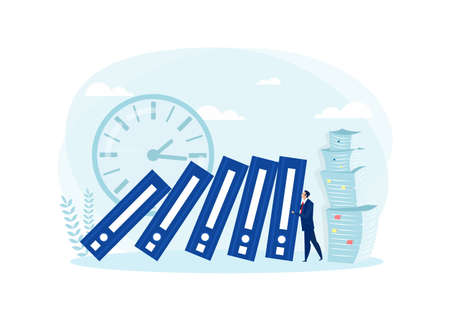 business man pushing big file. Business hard work Concept. Vector illustration in flat style.
