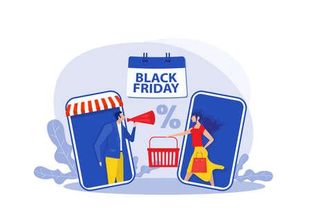 black friday shop; woman shop online stor; promo purchase marketing illustration
