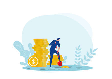 many people did the earth in search of hidden bag money. Vector illustration
