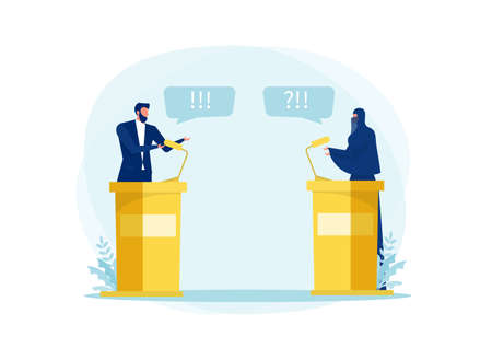 muslim woman Speak Politician Debate ,Conference or Interview  about  wear her hijab  with  man politics  concept illustrator Vectores