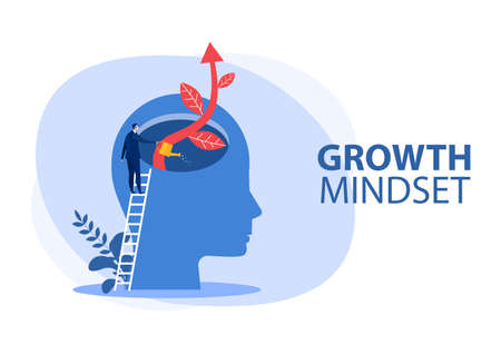 businessman Watering plants with big brain growth mindset concept vector 矢量图像